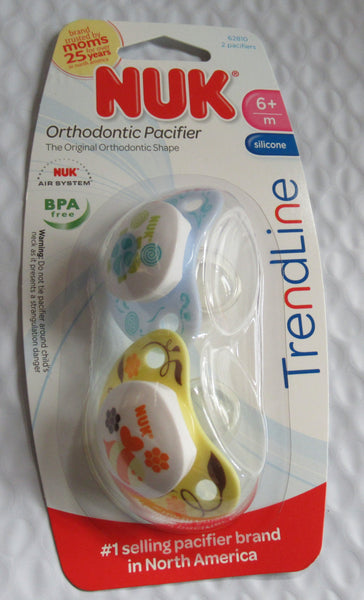 Nuk Trendline Orthodontic Pacifier- Blue & yellow- 2 pacifiers - 6+ month