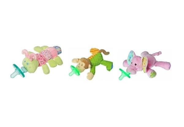 Mary Meyer Wubbanub Plush Pacifier, Limited Edition Set (Cutsie Caterpillar, Mango Monkey and Ella Bella Elephant)