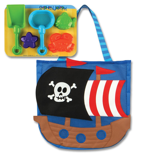 Stephen Joseph Boys Pirate Ship Beach Tote Bag with Bucket Sun Hat and Sunglasses for Kids