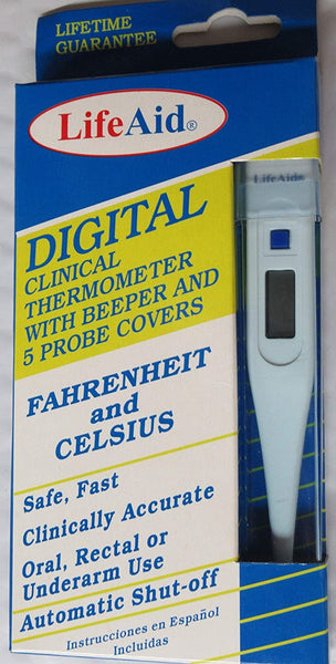 Life Aid Digital Clinical Thermometer with Beeper and 5 Probe Covers