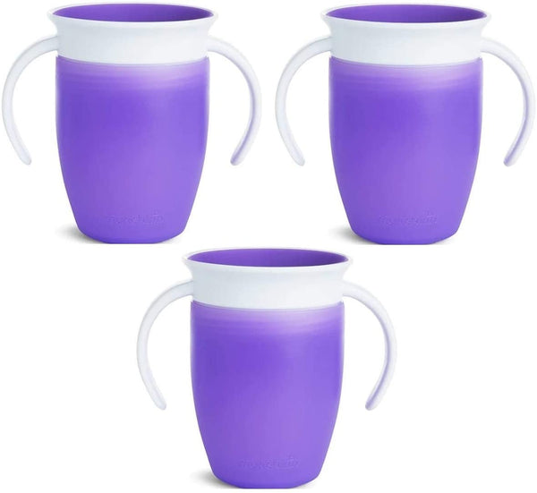 Munchkin Miracle 360 Degree 7 Ounce Spoutless Trainer Cup, 3 Pack, Purple