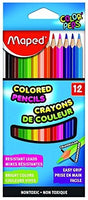 Maped Color'Peps Triangular Colored Pencils, Assorted Colors, Pack of 12