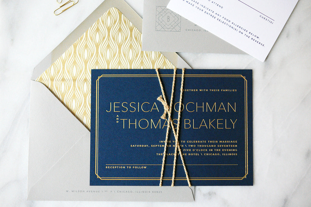 Modern Gold Wedding Invitations