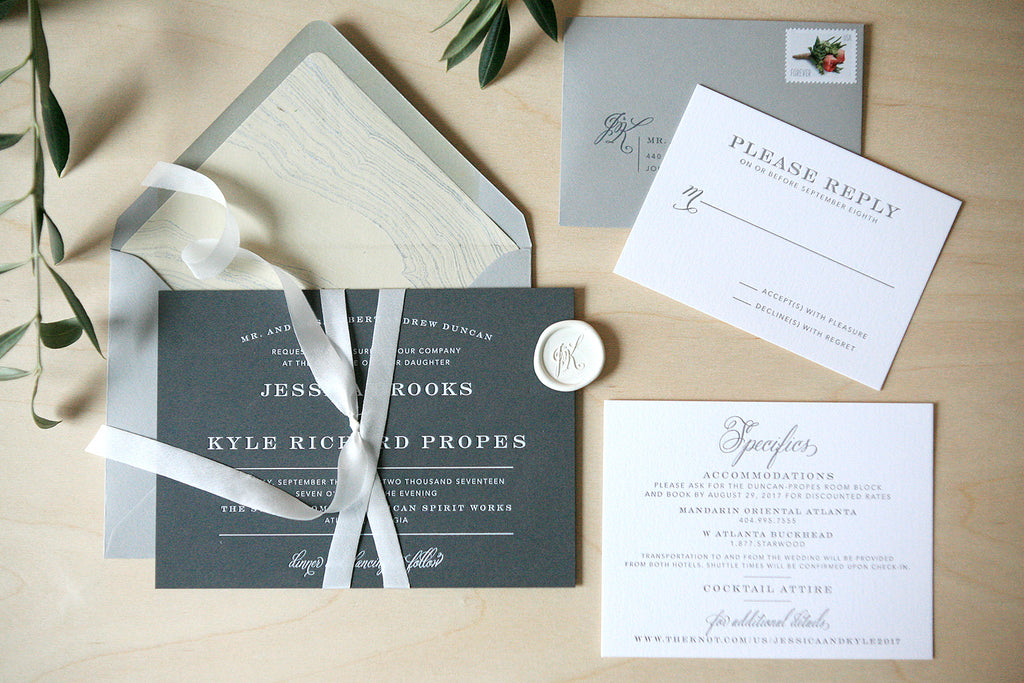 White Foil Wedding Invitations