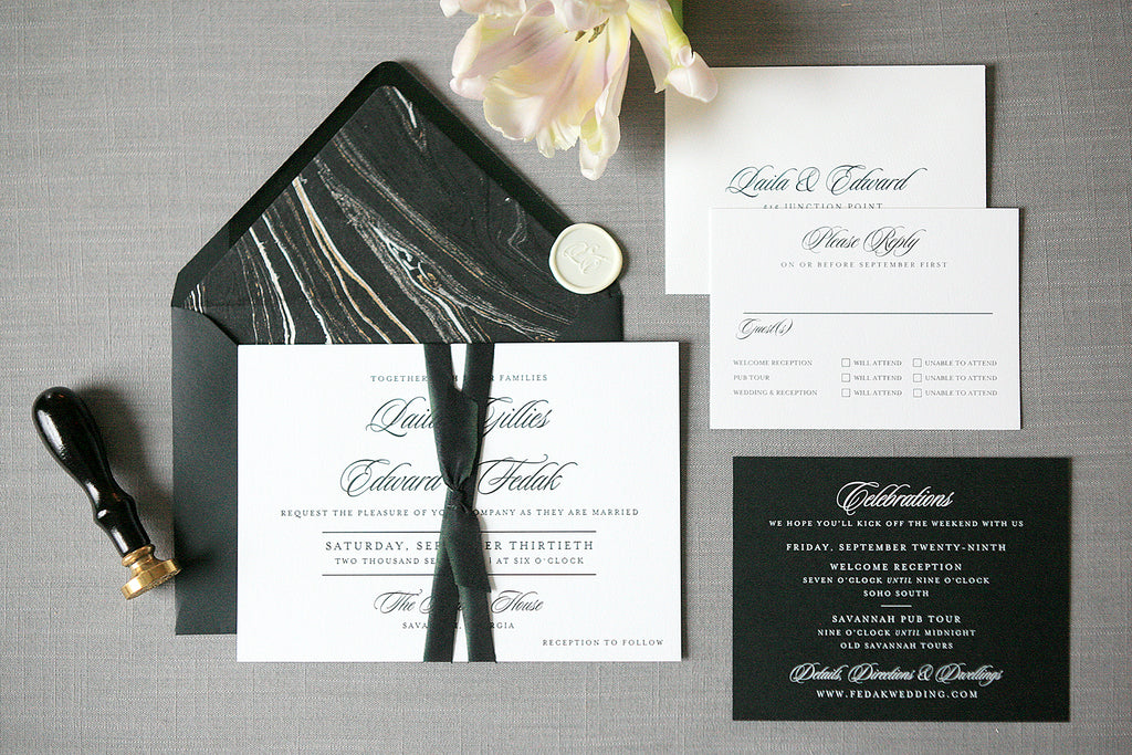 Black and White Letterpress Wedding Invitations