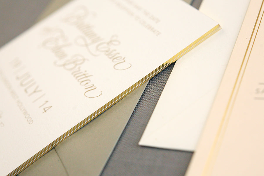 Save the Dates with Gilded Edges