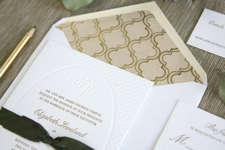 Letterpress Wedding Invitations Green and Gold