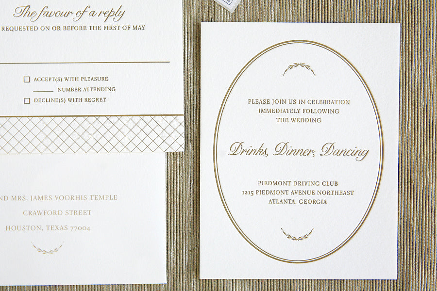 Garden Wedding Letterpress Invitations