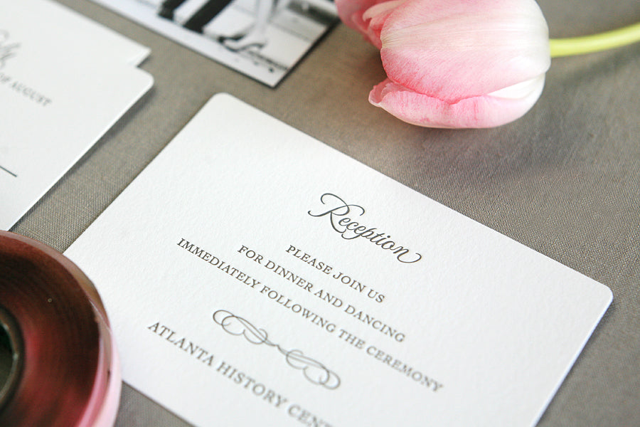 Letterpress Wedding Invitations Blush and Gray