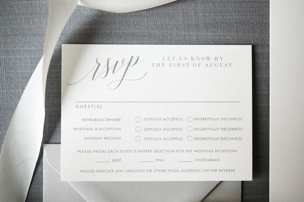 Letterpress Wedding Invitations Gray and Gold
