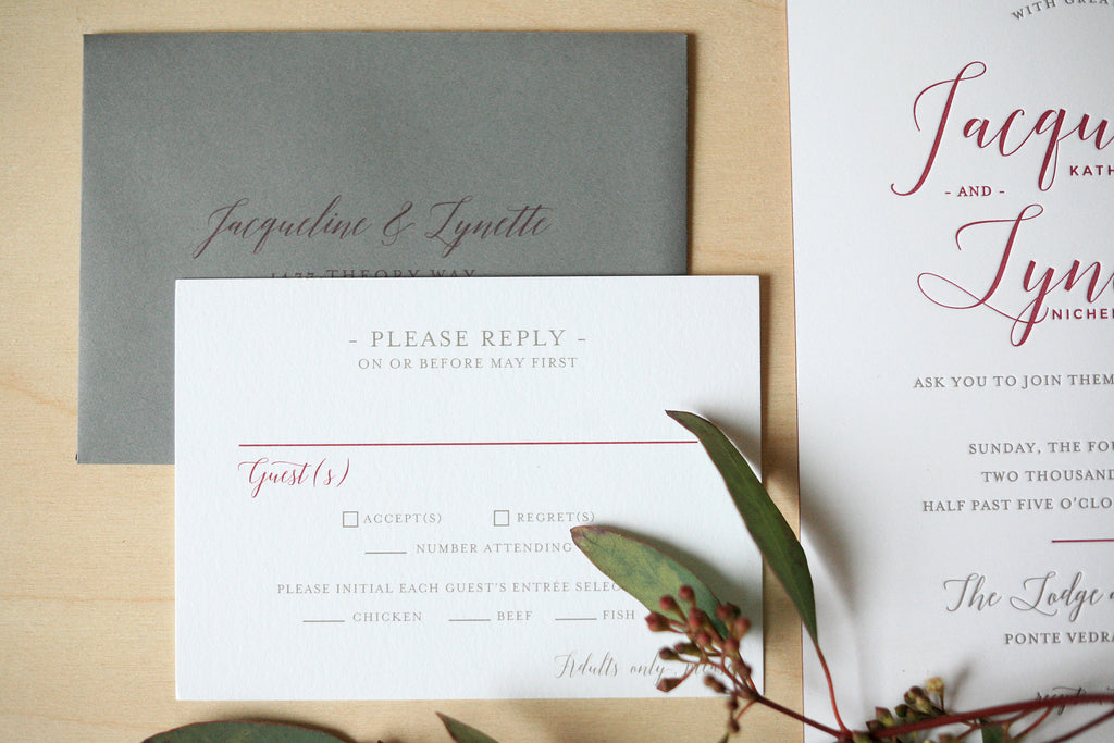 Modern Letterpress Wedding Invitations in Merlot