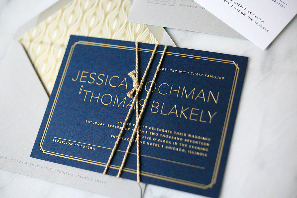 Modern Gold Foil Wedding Invitations
