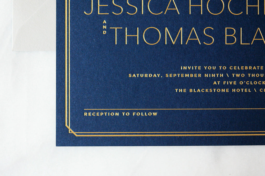 Gold Foil on Navy Wedding Invitations