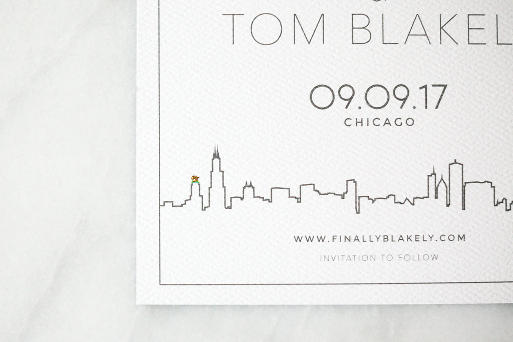 Modern Chicago Skyline Save the Dates