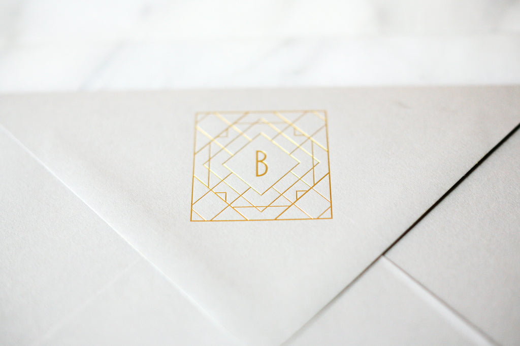 Gold Foil Monogrammed Envelopes