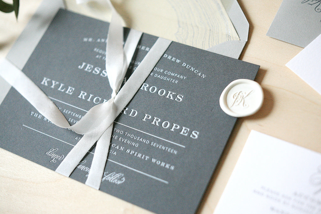 Modern White and Grey Wedding Invitations