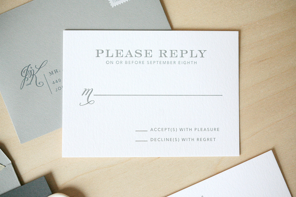 Modern White and Gray Wedding Invitations