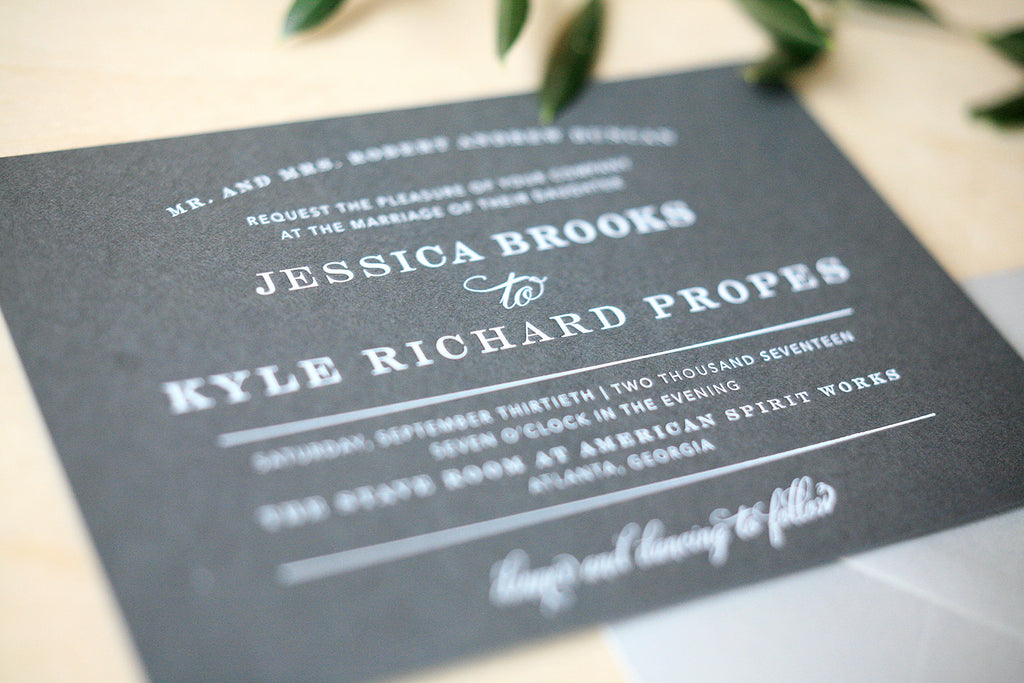 Slate Gray Wedding Invitation with White Foil