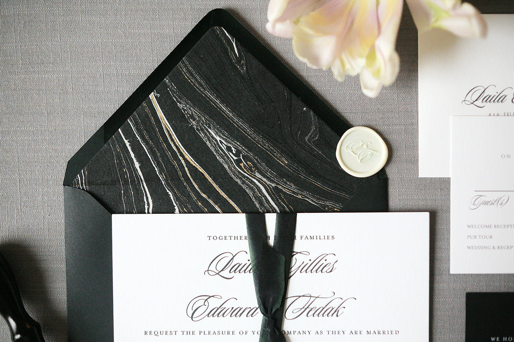 Black, White and Gold Marbled Envelope Liners