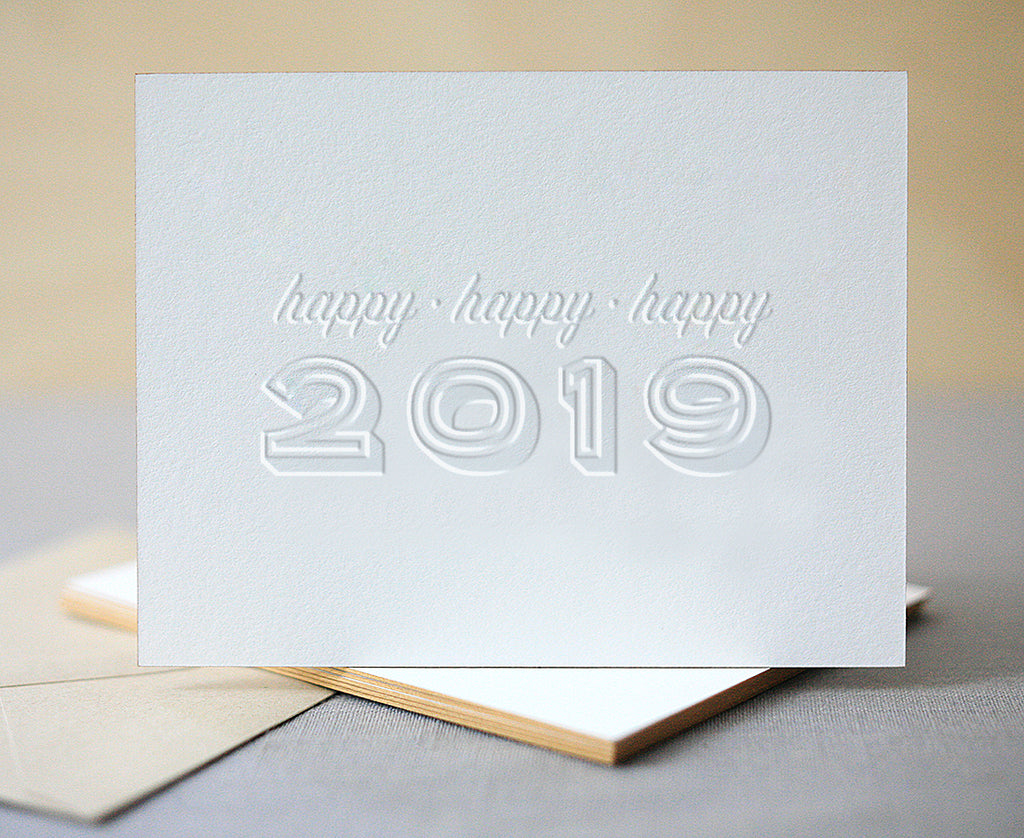Happy 2019 Letterpress New Years Cards