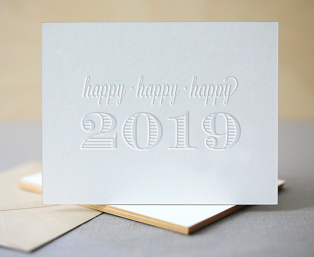 Happy Happy Happy 2019 Letterpress New Years Cards