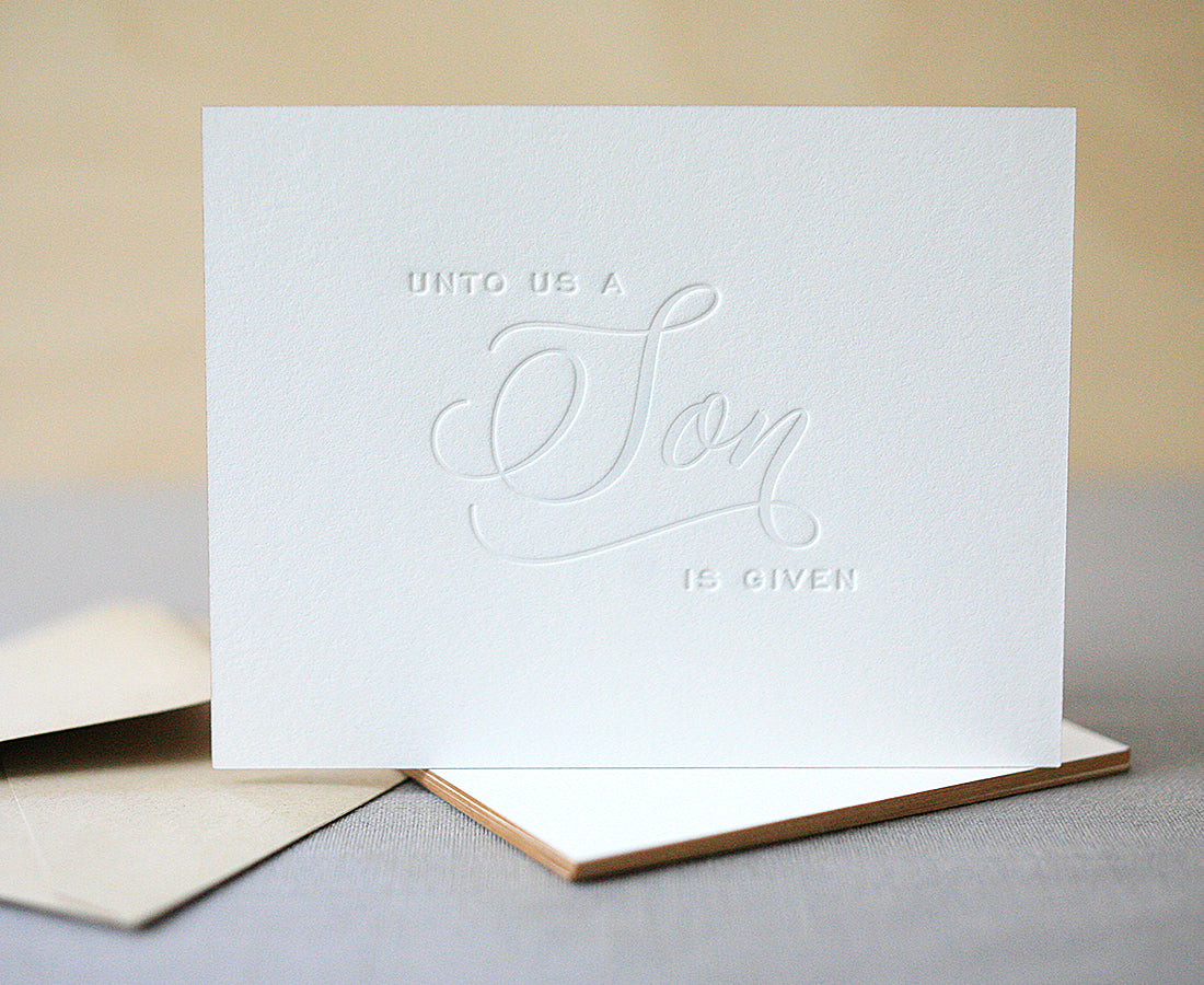 Letterpress Christmas Cards.A Son Is Given Letterpress Christmas Cards