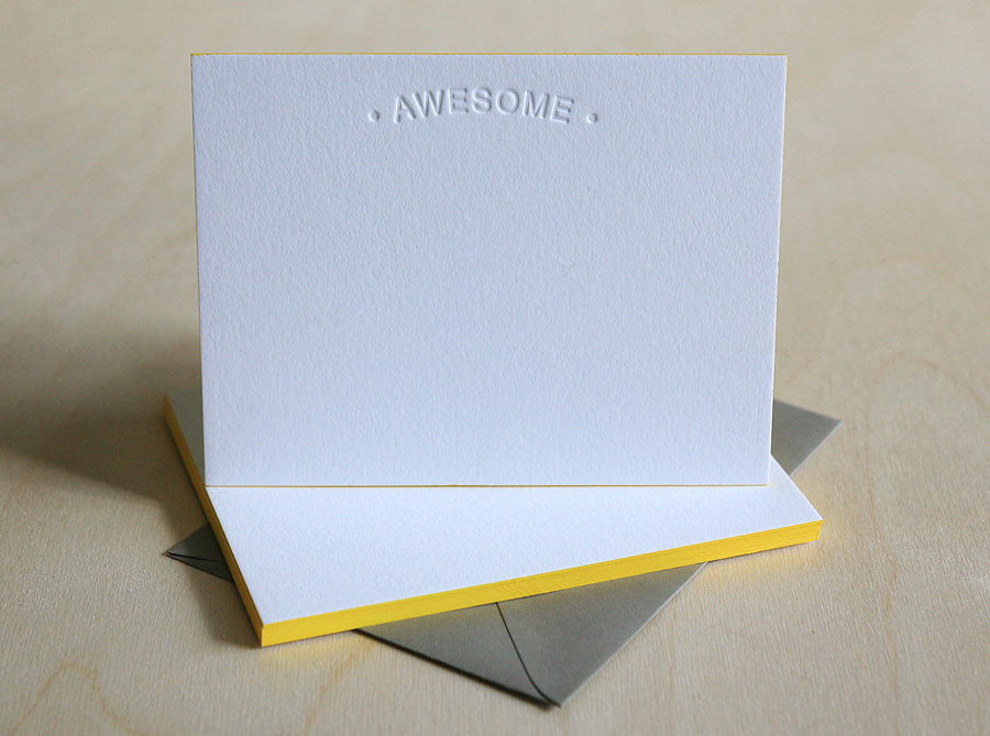 Awesome Letterpress Edge Painted Notes