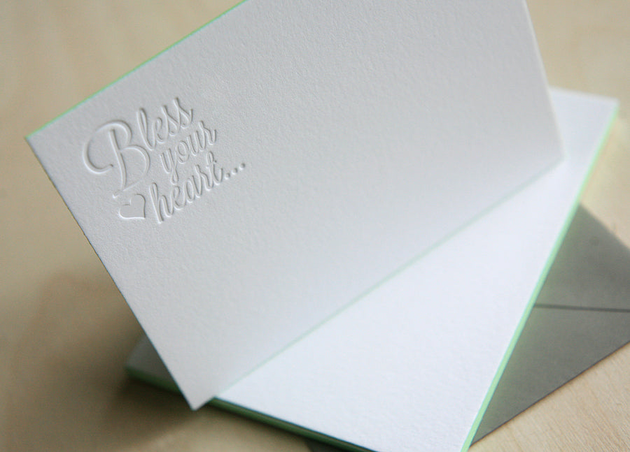 Bless Your Heart Letterpress Edge Painted Notes
