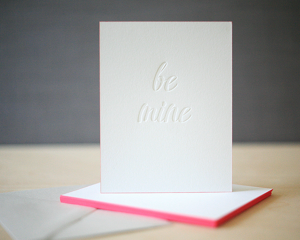 Be Mine Script Letterpress Valentine's Cards