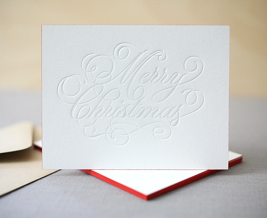 Merry Christmas Letterpress Christmas Cards