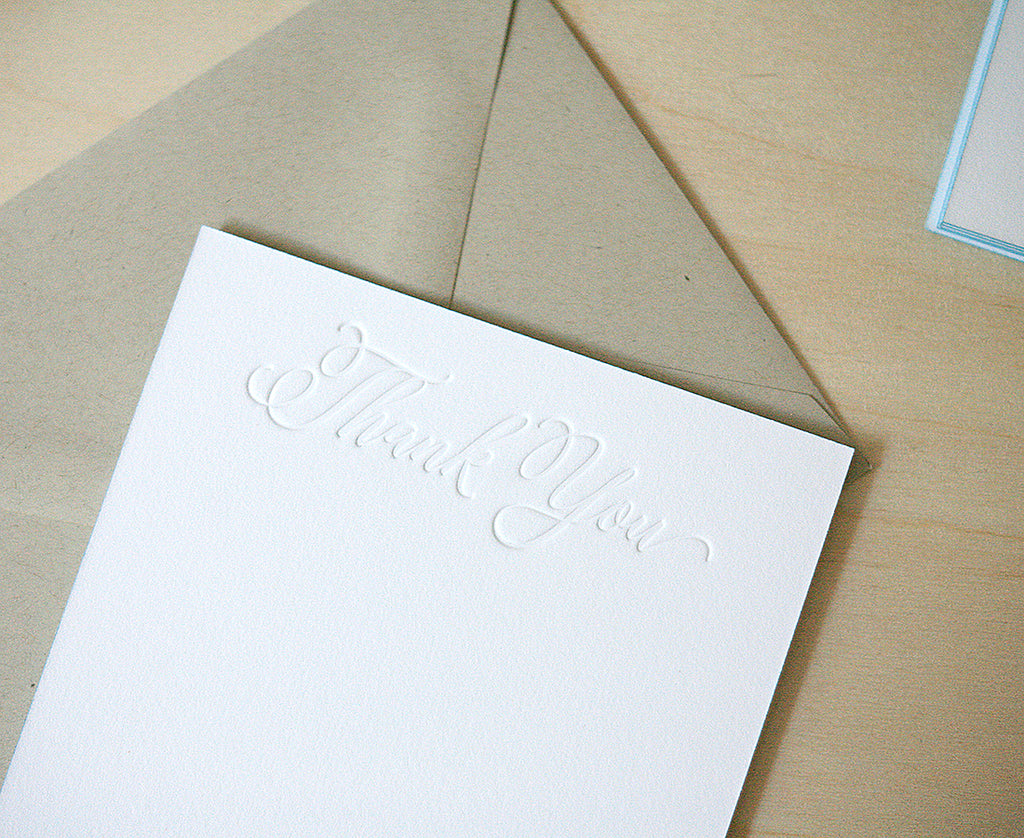 Calligraphy Thank You Letterpress Edge Painted Notes
