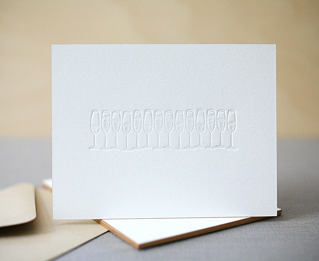 Champagne Letterpress New Years Cards