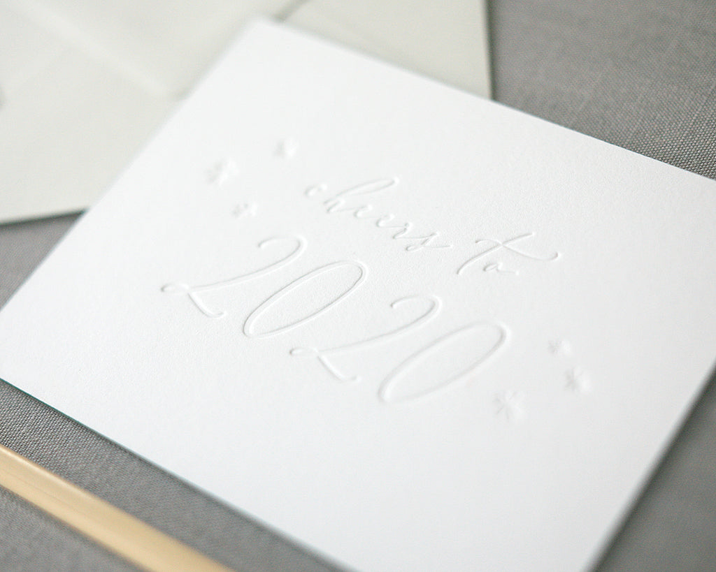 Cheers to 2020 Letterpress New Years Cards