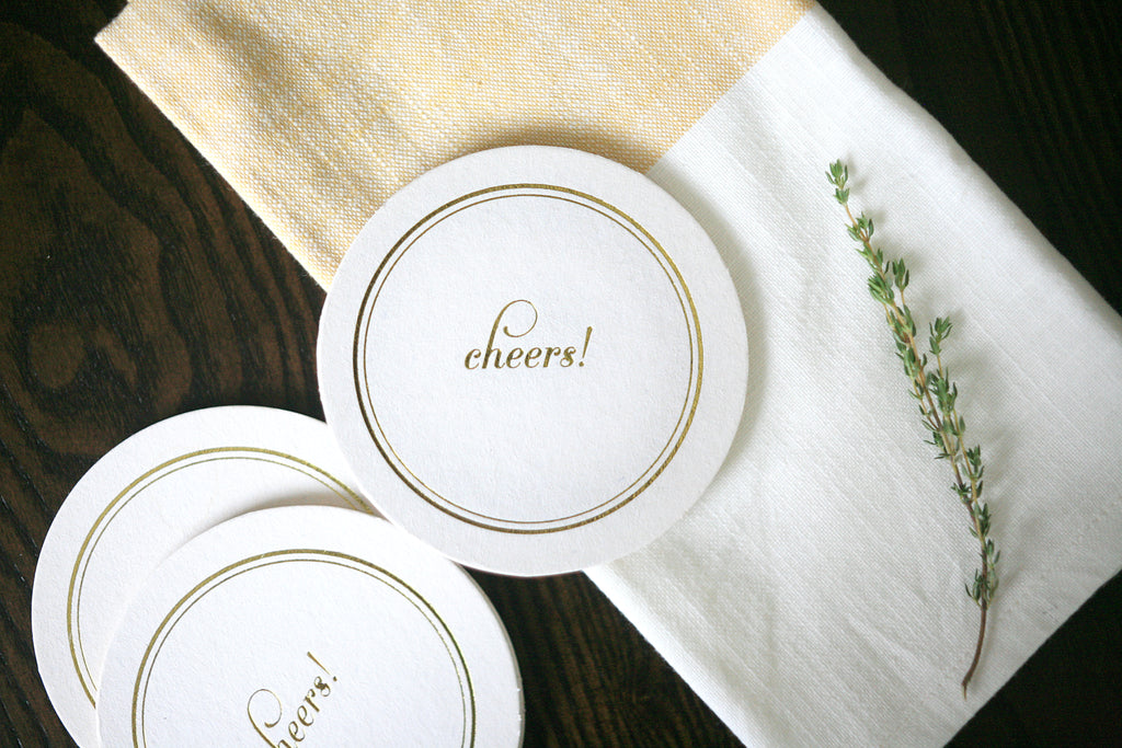 Cheers Foil Stamped Coasters