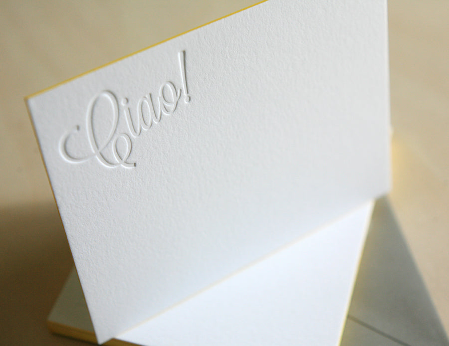 Ciao Letterpress Edge Painted Notes