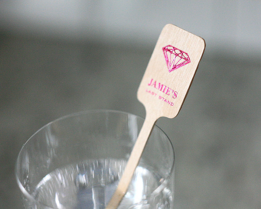 Diamond Bachelorette Wood Stir Sticks