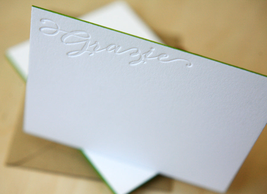 Grazie Letterpress Edge Painted Notes