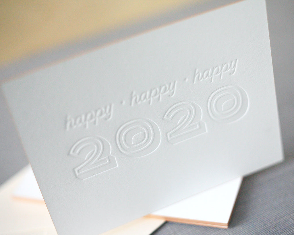 Happy 2020 Letterpress New Years Cards