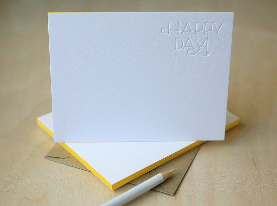 Happy Day Letterpress Edge Painted Notes