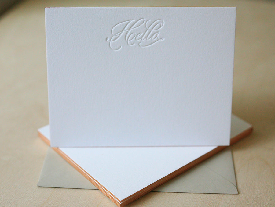Hello Script Letterpress Edge Painted Notes