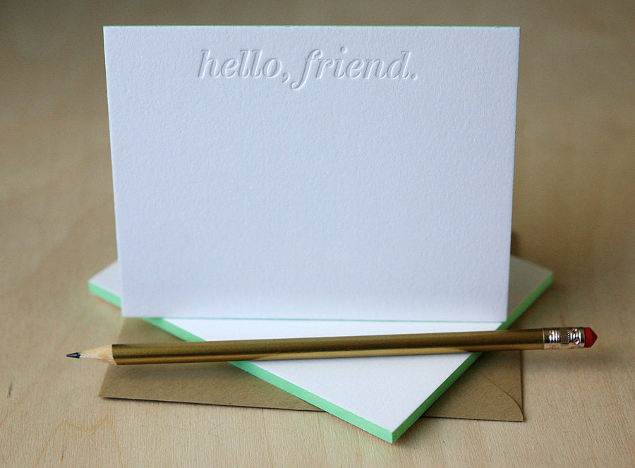 Hello Friend Letterpress Edge Painted Notes