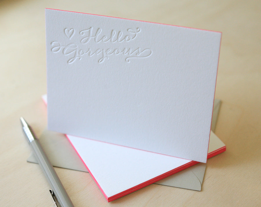 Hello Gorgeous Letterpress Edge Painted Notes