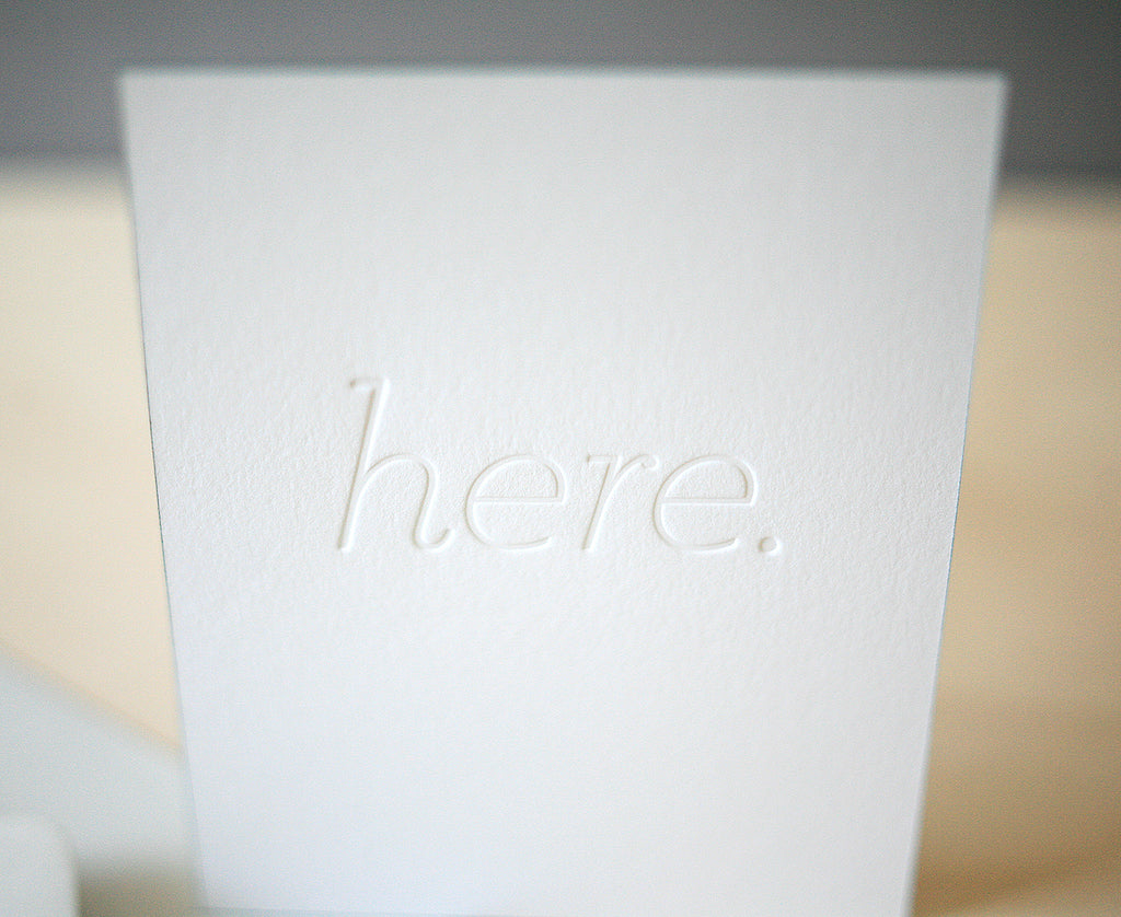 Here. Greeting Card