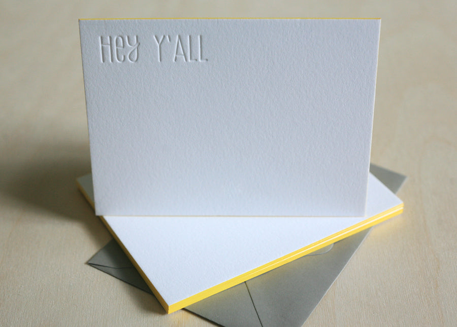 Hey Y'all Letterpress Edge Painted Notes