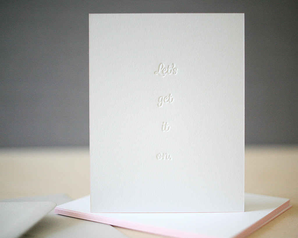 Let's Get It On Letterpress Valentine's Cards