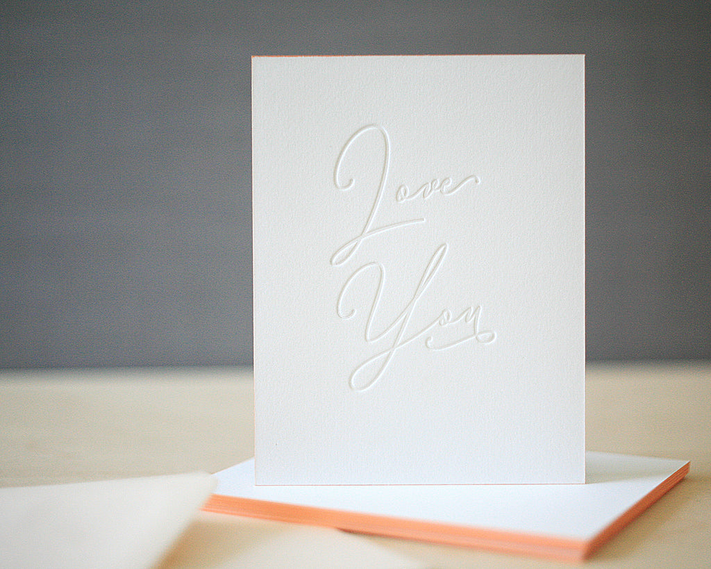 Love You Letterpress Valentine's Cards