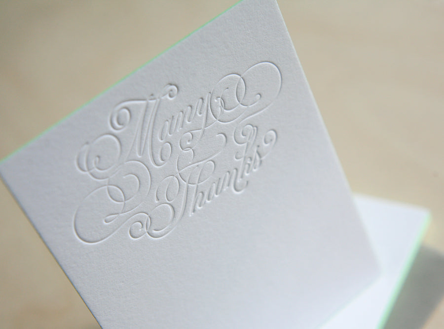 Many Thanks Letterpress Edge Painted Notes
