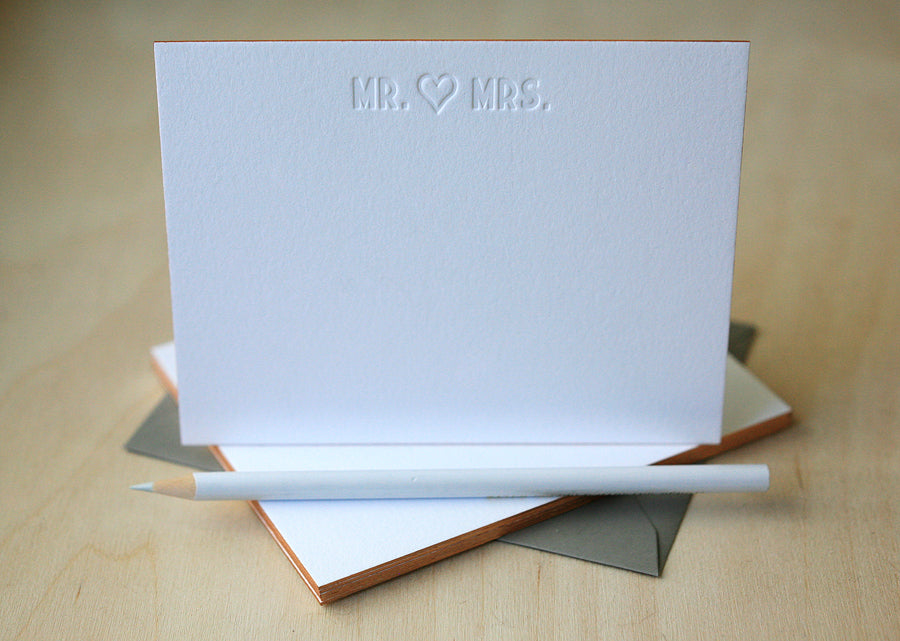 Mr. & Mrs. Letterpress Edge Painted Notes
