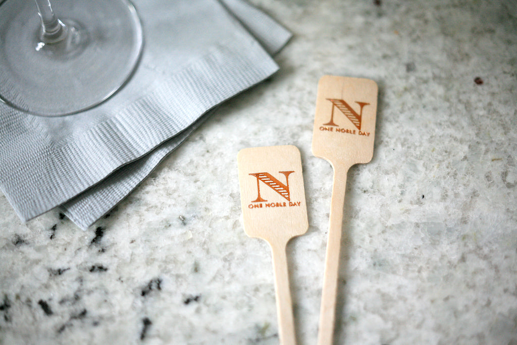 Monogrammed Wood Stir Sticks