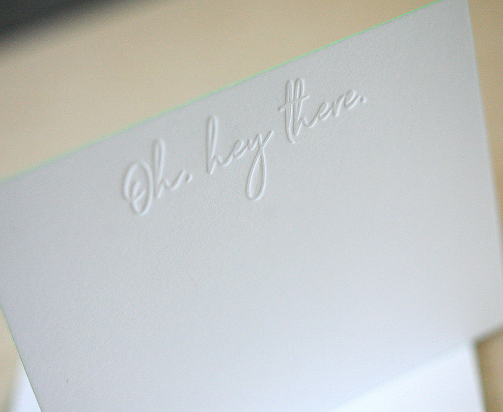 Oh Hey There Letterpress Edge Painted Notes